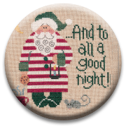 Stitch Dots - Goodnight Santa Needle Nanny by Lizzie Kate-Stitch Dots - Goodnight Santa Needle Nanny by Lizzie Kate, Santa Claus, pajamas, Christmas, sleepy, toys, cross stitch, magnet,