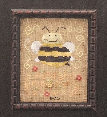 The Trilogy - Happy Buzz Buzz Day - Cross Stitch Chart with Charm-The Trilogy, Happy,Buzz,Buzz,Day,Cross, Stitch, Chart, bees, sampler, summer, gold charm,