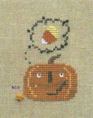 Bent Creek - What's on your mind...Candy Corn - Cross Stitch Pattern-Bent Creek,  What's on your mind...Candy Corn, thinking, pumpkin, candy, Halloween candy, Cross Stitch Pattern