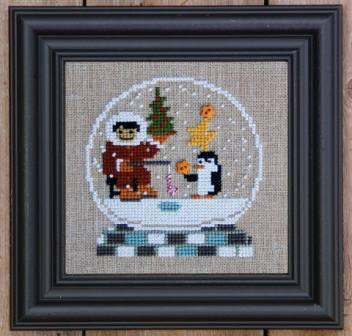 Bent Creek - Gone Fishing Globe - Cross Stitch Kit-Bent Creek, Gone Fishing Globe, snow globe, eskimo, penguin, fish, ice fishing, Cross Stitch Kit