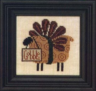 Bent Creek - Gertie Gobble Kit-Bent Creek, Gertie Gobble, thanksgiving, lamb, turkey feathers, constume, Cross Stitch Kit