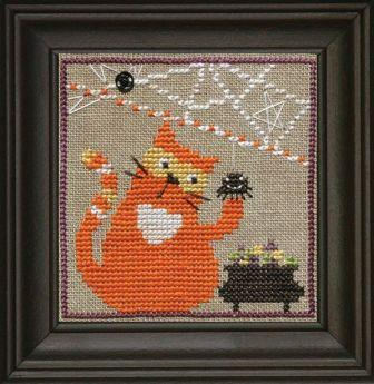 Bent Creek - Spooky Spinners Snapper Series - Part 1 of 5 - Candy Corn Cat - Cross Stitch Chart Pack-Bent Creek, Spooky Spinners Snapper Series, Candy Corn Cat, Cross Stitch Chart Pack, Halloween, cats, halloween candy, candy corn, fall, trick or treat, Cross Stitch Pattern