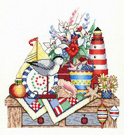 Bobbie G. Designs - Seashore Shelf - Cross Stitch Pattern-Bobbie G. Designs - Seashore Shelf - Cross Stitch Pattern