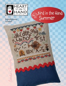 Heart in Hand Needleart - Bird in the Hand - Summer-Heart in Hand Needleart - Bird in the Hand - Summer, USA, patriotic, bees, American flag, birds, cross stitch