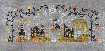 Barbara Ana Designs - Black Cat Hollow Part 1-Barbara Ana Designs - Black Cat Hollow Part 1, Halloween, witches, brooms, pumpkins, haunted house, sampler, cross stitch