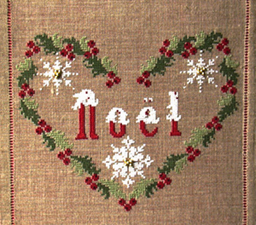 Blu Cobalto - Coeur Noel - Cross Stitch Pattern-Blu Cobalto, Coeur Noel, Christmas, noel, red and white flowers, heart, snowflakes, Cross Stitch Pattern