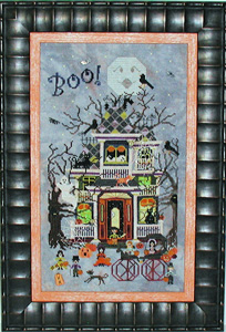 Praiseworthy Stitches - Blue Moon Manor-Praiseworthy Stitches - Blue Moon Manor, Halloween,  haunted house, ghosts, bats, trick or treat, cross stitch