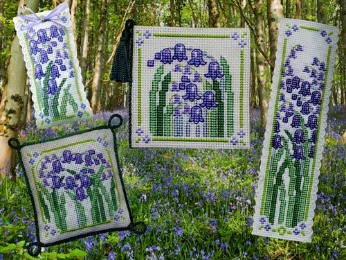 Textile Heritage - Bluebells Collection - Cross Stitch Kit-Textile Heritage,Bluebells,Collection, Cross,Stitch,Kit,flowers, bookmark, needlecase, pin cushion, white aida fabric
