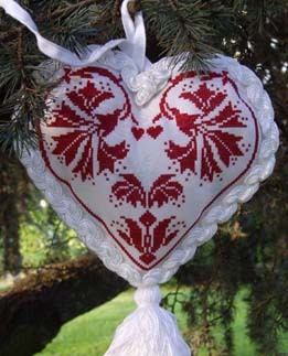 Blu Cobalto - Ornament Red - Cross Stitch Pattern-Blu Cobalto, Ornament Red, Christmas, Christmas tree, heart ornament,hearts, Cross Stitch Pattern