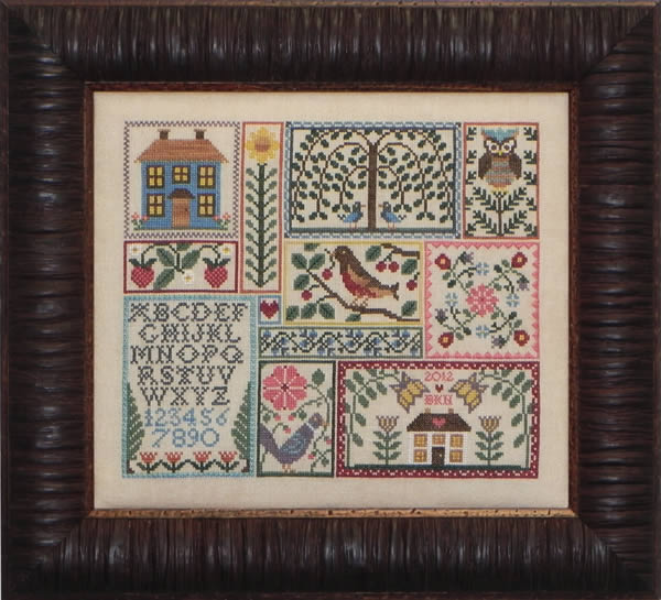 Blue Ribbon Designs - Feathers, Flowers and Fruit - Cross Stitch Patterns-Blue Ribbon Designs, Feathers, Flowers, and Fruit, sampler, houses, birds, owl, Cross Stitch Patterns