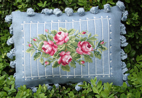 Blu Cobalto - Roses-Blu Cobalto, Roses, flowers, floral, rose pillow, Cross Stitch Pattern