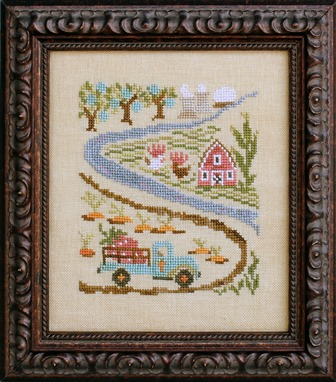 Ink Circles - Bad Neighborhoods - Part 5 of 6 - Miracle Grow - Cross Stitch Pattern-Ink Circles,  Bad Neighborhoods, Part 5 of 6, Miracle Grow, red barn, farm, truck, carrots, apples, chickens, Cross Stitch Pattern