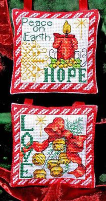 Bobbie G. Designs - Hope, Love Ornaments - Cross Stitch Charts-Bobbie G. Designs, Hope Love Ornaments, Christmas tree, candle, peace on earth, holly, berries, Christmas bells, red ribbons, gold star,Cross Stitch Charts
