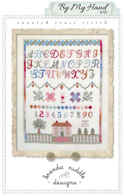 Brenda Riddle Designs - By My Hand - Cross Stitch Pattern-Brenda Riddle Designs, By My Hand, sampler, pastels, house, white picket fence, flowers, family, Cross Stitch Pattern