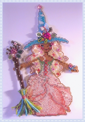 Brooke's Books - Sadie the Spring Witch - Cross Stitch Chart Pack-Brookes Books, Sadie, Spring, Witch,Cross Stitch Chart Pack, halloween, perforated paper,dolls, beads, ribbon