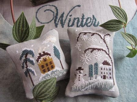 By The Bay Needleart - Chilly Winter-By The Bay Needleart, Chilly Winter, snow, snowman, house, cold,Cross Stitch Pattern