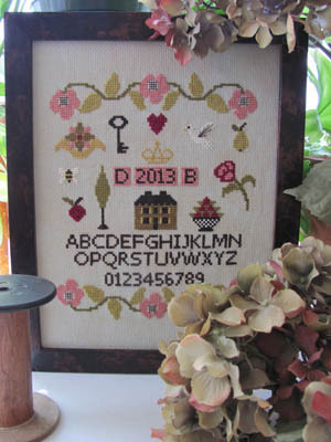 By The Bay Needleart - Simple Sampler -By The Bay Needleart, Simple Sampler, house, flowers, sampler,  Cross Stitch Pattern