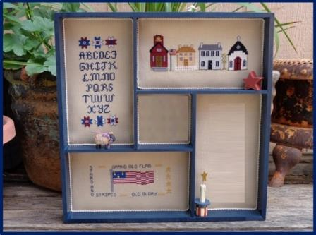Faithwurks Designs - Americana Shadowbox Mystery Series - Part 3 Patriotic ABC's-Faithwurks Designs - Americana Shadowbox Mystery Series - Part 3 Patriotic ABCs, spool, USA, cross stitch