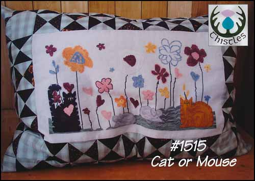Thistles - Cat or Mouse-Thistles - Cat or Mouse, pillow, flowers, garden, spring, animals,