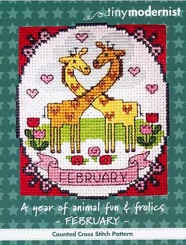 Tiny Modernist - A Year of Animal Fun & Frolics 02 - February-Tiny Modernist - A Year of Animal Fun  Frolics 02 - February, giraffes, love, calendar, cross stitch