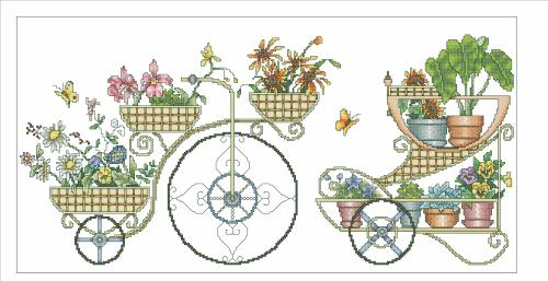 Vickery Collection - Flower Carts - Cross Stitch Pattern-Vickery,Collection,Flower,Carts,Cross,
