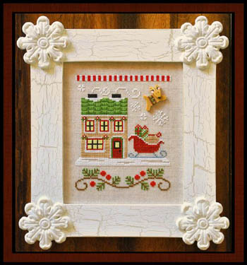 Country Cottage Needleworks - Santa's Village - Part 09 - Santa's Sleighworks-Country Cottage Needleworks, Santas Village,Santas Sleighworks, Christmas, ornaments, santa claus, reindeer, rudolf the red nosed reindeer, Cross Stitch Pattern