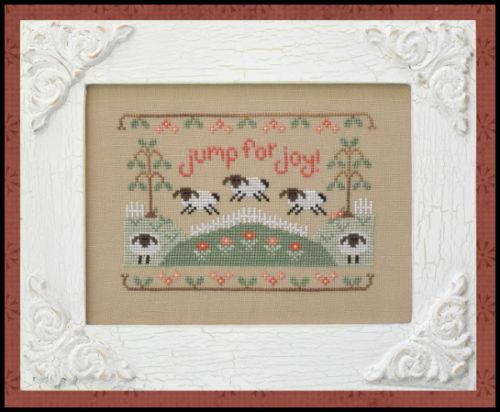 Country Cottage Needleworks - Jump For Joy-Country Cottage Needleworks, Jump For Joy, spring, sheep, lamb, flowers,