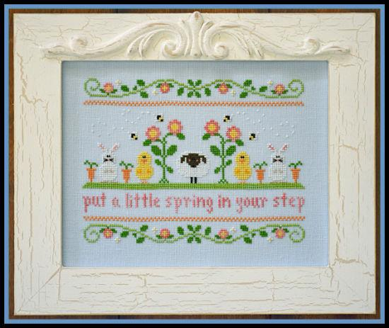 Country Cottage Needleworks - Spring in Your Step-Country Cottage Needleworks - Spring in Your Step, Easter, lamb, bunny, chicks, flowers, spring, cross stitch
