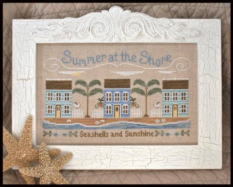 Country Cottage Needleworks - Summer at the Shore - Cross Stitch Pattern-Country Cottage Needleworks, Summer at the Shore, beach houses, ocean, palm trees, seashells, sunshine, seagulls, summer cottage, Cross Stitch Pattern