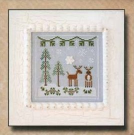 Country Cottage Needleworks - Frosty Forest - Part 8 - Snowy Reindeer-Country Cottage Needleworks, Frosty Forest, Part 8 of 9, Snowy Reindeer, winter, snowflake, pine trees, reindeer, snow, forest, Cross Stitch Pattern