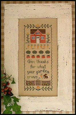 Country Cottage Needleworks - Harvest Blessing-Country Cottage Needleworks, Harvest Blessing, Thanksgiving, house, puimpkins,carrots, garden, vegetables, rabbits,  Cross Stitch Pattern