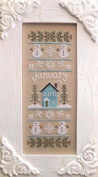 Country Cottage Needleworks - Sampler of the Month 01 - January-Country Cottage Needleworks - Sampler of the Month 01 - January, snow, snowman, calendar, home, cross stitch