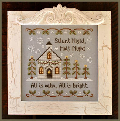 Country Cottage Needleworks - Silent Night - Cross Stitch Pattern-Country Cottage Needleworks, Christmas song,, Silent Night, winter, biblical, bible verse, snow, church service,  Cross Stitch Pattern