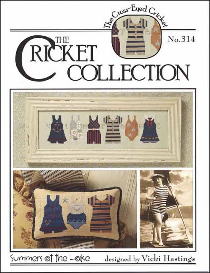 Cross-Eyed Cricket - Summers at the Lake - Cross Stitch Pattern-Cross-Eyed Cricket, Summers,at the Lake - Cross Stitch Chart, swimming, bathing, suits, water, beach, cricket collection,