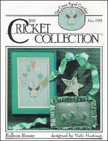 Cross-Eyed Cricket - Balloon Bunny - Cross Stitch Patterns-Cross-Eyed Cricket, Balloon Bunny, angels, heart balloons, Cross Stitch Patterns