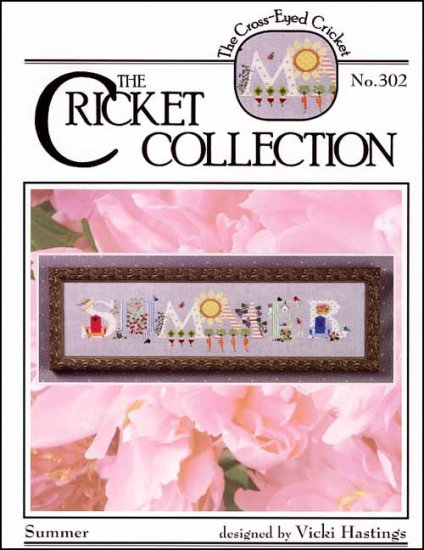Cross-Eyed Cricket - Summer-Cross-Eyed Cricket, Summer, Cross Stitch Pattern, sunshine, flowers, berries, birds, beach chair, carrots,cricket collection,