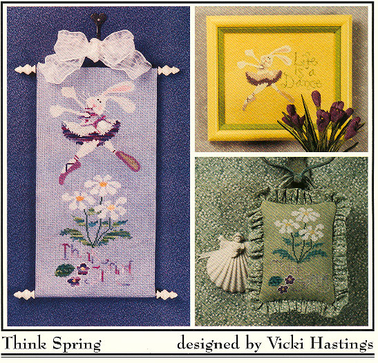 Cross-Eyed Cricket - Think Spring - Cross Stitch Pattern-Cross-Eyed Cricket,  Think Spring, Easter bunnies, ballerina, dancing, flowers, Cross Stitch Pattern