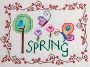 Cottage Garden Samplings - Spring - Cross Stitch Pattern-Cottage Garden Samplings, Spring, butterfly, flowers, trees, seasons, vines, blue bird, tweet, chirp, hearts, needlework, Cross Stitch Pattern