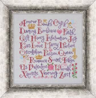 Cottage Garden Samplings - Valentine Sampler-Cottage Garden Samplings, Valentine Sampler, love, hearts, romance, sampler, alphabet, Cross Stitch Pattern
