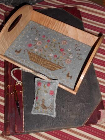Chessie & Me - Floral Basket Tray with Fob-Chessie  Me - Floral Basket Tray with Fob, flowers, wood tray, cross stitch