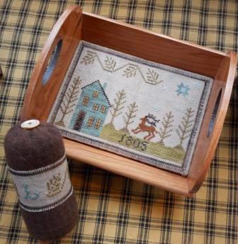 Chessie & Me - Piney Woods Tray & Pyn Keep-Chessie  Me - Piney Woods Tray  Pyn Keep, trees, forest, wood tray, cross stitch, pin cushion,