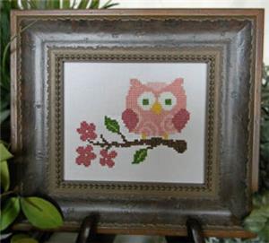 Cherry Hill Stitchery - Pink Owl on Branch-Cherry Hill Stitchery - Pink Owl on Branch