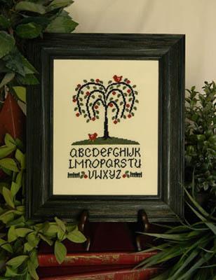 Cherry Hill Stitchery - Willow Tree Alphabet-Cherry Hill Stitchery, Willow Tree Alphabet, sampler, trees, country style, aida, dmc, Cross Stitch Pattern