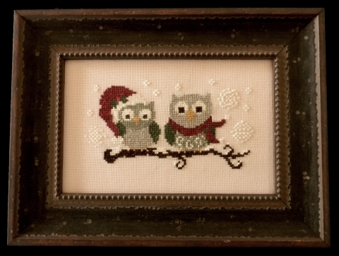 Cherry Hill Stitchery - Christmas Owls-Cherry Hill Stitchery, Christmas Owls, male  female owls, birds, tree branch, animals, Cross stitch Pattern
