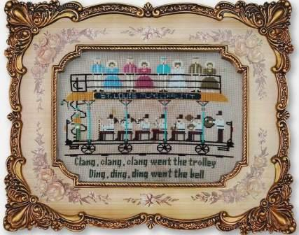 Twin Peak Primitives - Clang Clang Trolley-Twin Peak Primitives - Clang Clang Trolley, train, St. Louis, band, music, cross stitch
