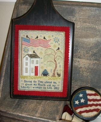 Chessie & Me - Grande Olde Flag Sampler-Chessie  Me - Grande Olde Flag Sampler, patriotic, USA, sampler, American flag, crows, cat, willow tree, Quaker, house,