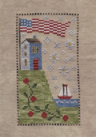 Chessie & Me - American Coast Kit-Chessie  Me - American Coast Kit, USA, American flag, sailboat, house, patriotic, cross stitch