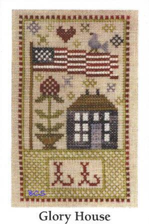 Chessie & Me - Glory House-Chessie  Me - Glory House, Americana, american flag, eagle, heart, house, primitive, cross stitch