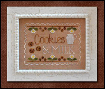 Country Cottage Needleworks - Cookies and Milk - Cross Stitch Pattern-Country Cottage Needleworks, Cookies and Milk, glass of milk, plate of cookies, flowers, pitcher of milk, Santa Claus, Cross Stitch Pattern