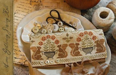 With Thy Needle & Thread - Acorn Gathering Sewing Roll-With Thy Needle  Thread, Country Stitches,  Acorn Gathering Sewing Roll, cross stitch pattern, fall, squirrels. harvest, foods,